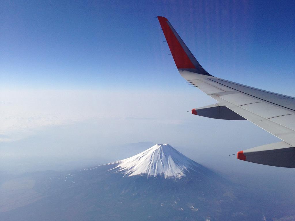 ジェットスターから見える富士山